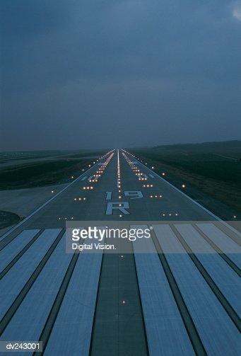 Lit flight runway at night