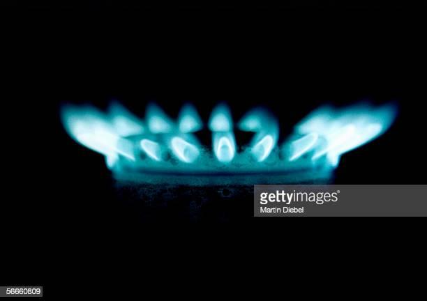 A lit gas burner