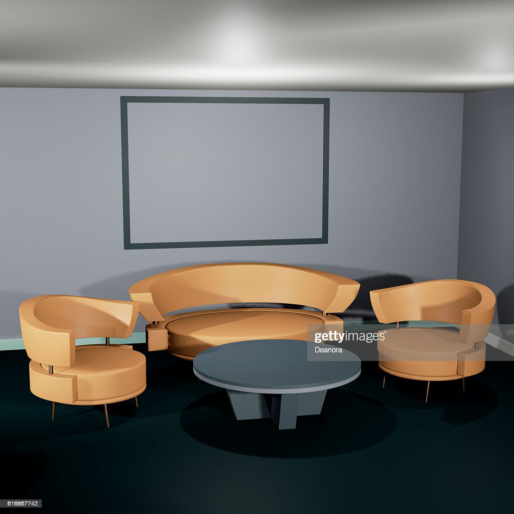 Lit interior mockup 3d illustration : Stock Photo