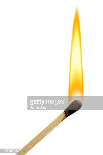 Lit Match With Flame on White Background