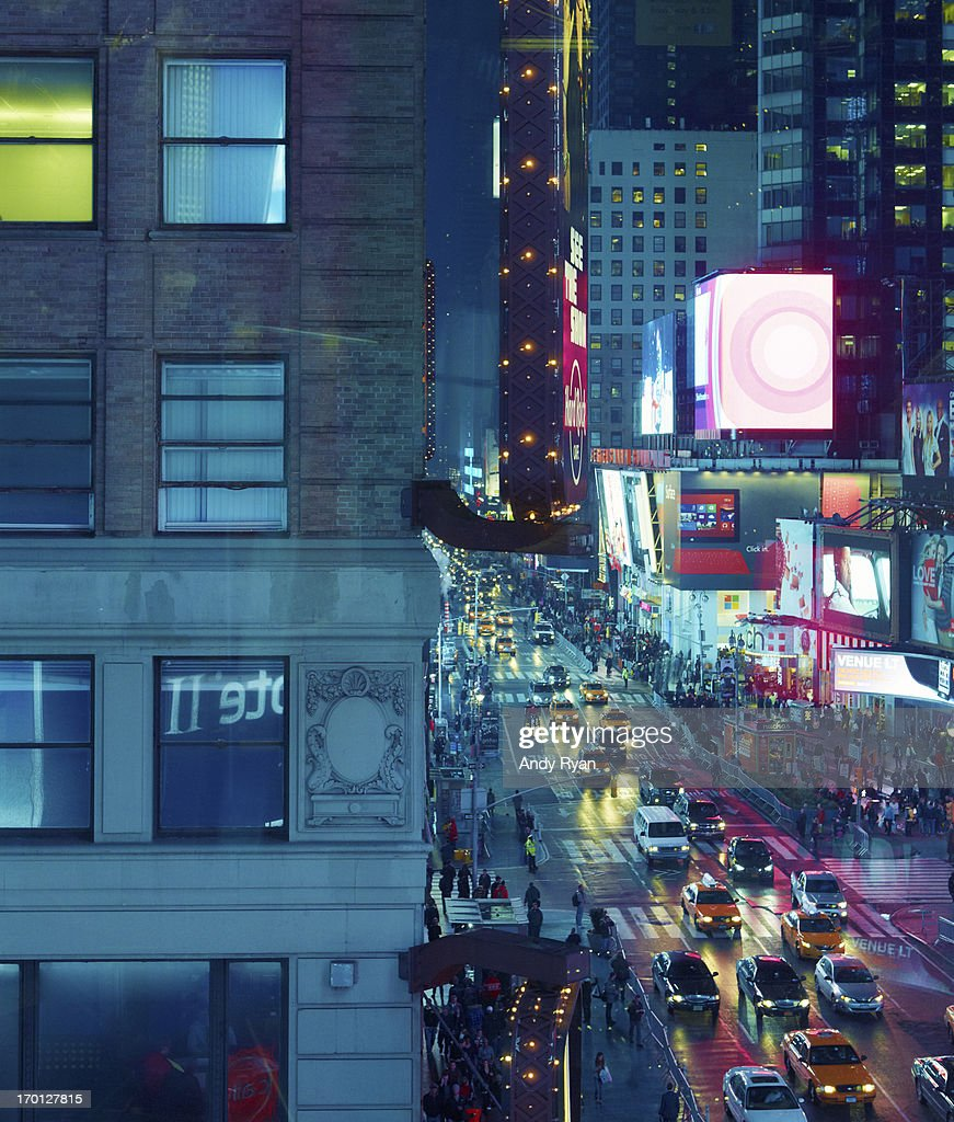 Lit Windows and Time Square at Dusk. : Stock Photo