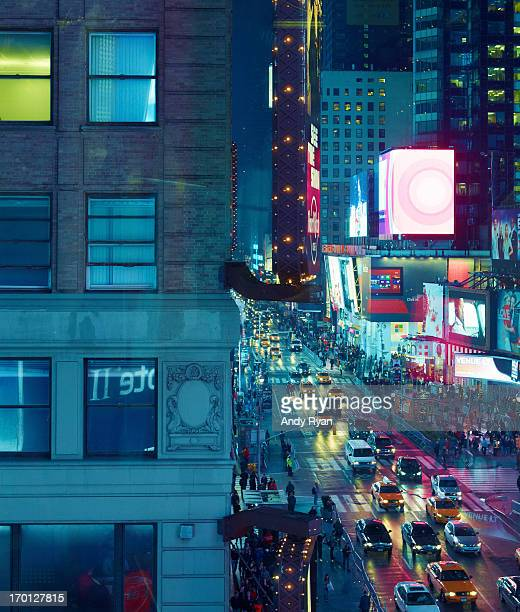 Lit Windows and Time Square at Dusk.