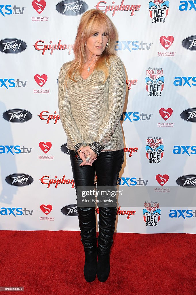 <a gi-track='captionPersonalityLinkClicked' href=/galleries/search?phrase=Lita+Ford&family=editorial&specificpeople=1350828 ng-click='$event.stopPropagation()'>Lita Ford</a> arrives at the Revolver/Guitar World Rock & Roll roast of Dee Snider at City National Grove of Anaheim on January 24, 2013 in Anaheim, California.