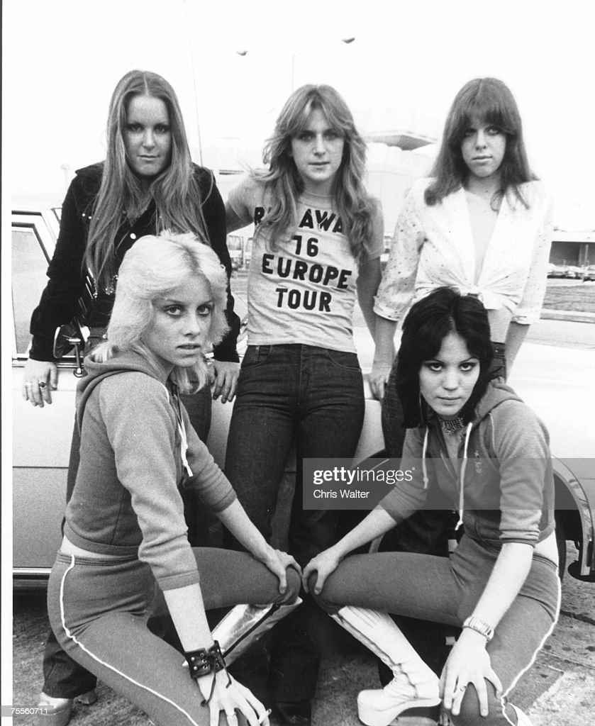 Lita Ford, Cherrie Currie, Sandy West, Joan Jett and Jackie Fox of The Runaways in London, 1976