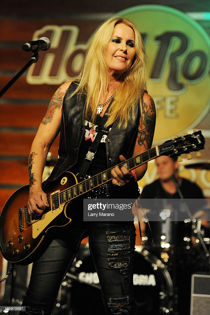 Lita Ford performs at the Pinktober event to benefit Memorial Breast Cancer Centers at Hard Rock Cafe on October 22 2010 in Hollywood Florida
