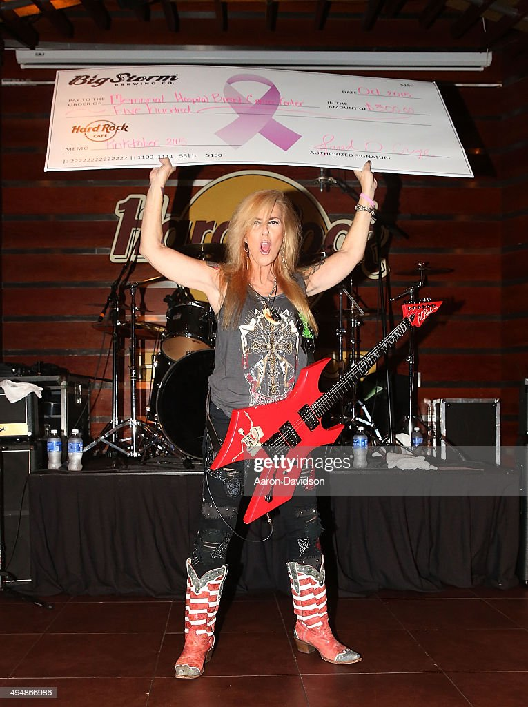 Lita Ford performs attends the Pinktober breast cancer fundraiser at Hard Rock Live in the Seminole Hard Rock Hotel Casino on October 29 2015 in...