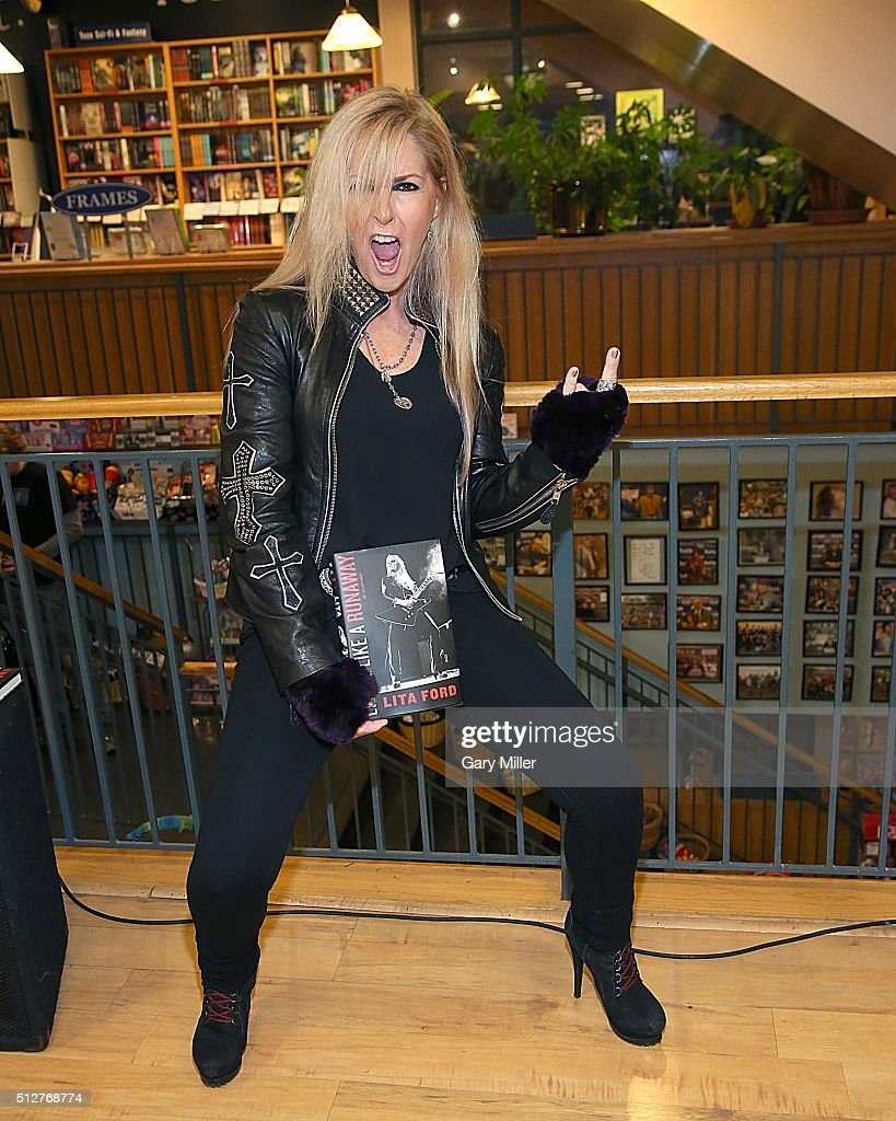 Lita Ford speaks about and signs copies of her new book 'Living Like A Runaway' at Book People on February 27, 2016 in Austin, Texas.