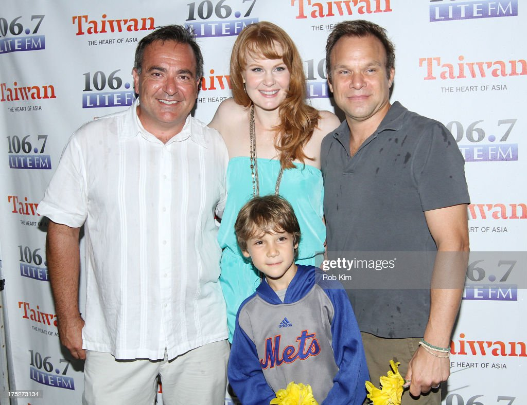 Lite FM's Bob Bronson (L) with cast of 'Big Fish' Kate Baldwin, Norbert Leo Butz and Zachary Unger attend 106.7 LITE FM's Broadway in Bryant Park 2013 at Bryant Park on August 1, 2013 in New York City.