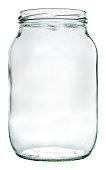 Empty liter glass jar. Isolation with clipping paths