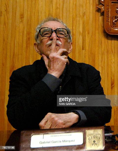 Literature Nobel Price Colombian Gabriel Garca Mrquez reacts during the Chair Julio Cortazar of the University of Guadalajara in Guadalajara Mexico...