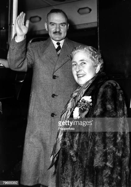 18th January 1950 English crime writer Agatha Christie pictured with her husband Prof Max Mallowan as they leave London for the continentAgatha...