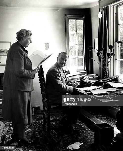 1950 British crime author Agatha Christie with her husband Professor Max Mallowan at their home Winterbrook House Wallingford Berkshire