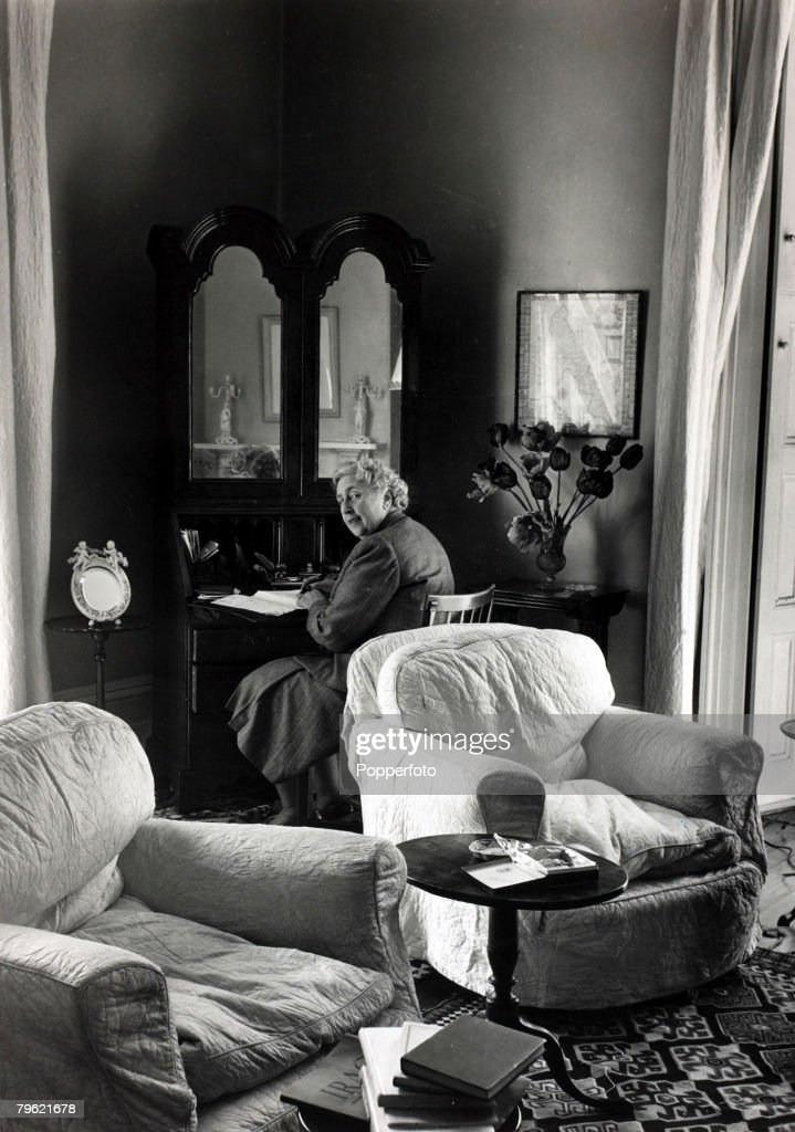 1950, English crime writer Agatha Christie at her home Winterbrook House, Wallingford, Berkshire, (now Oxfordshire)Agatha Christie,(1890-1976), the world's best known mystery writer, famous for her Hercule Poirot and Miss Marple stories, and for her plays including 'The Mousetrap'