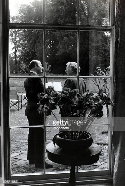 1950 English crime writer Agatha Christie at her home Winterbrook House with fellow author Ernest DudleyAgatha Christie the world's best known...