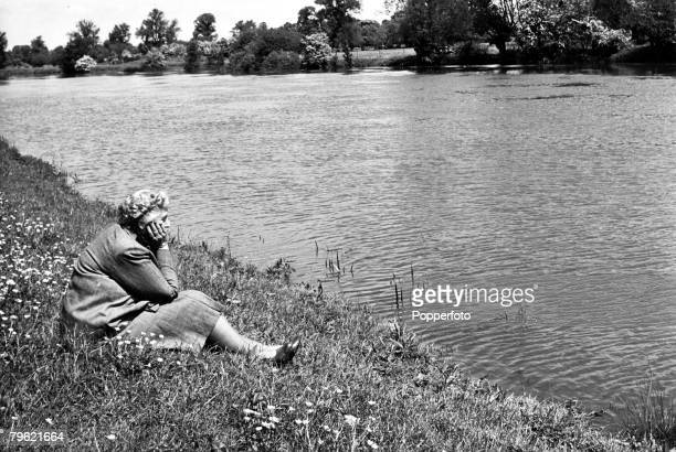 1950 English crime writer Agatha Christie relaxing by the river Agatha Christie the world's best known mystery writer famous for her Hercule Poirot...