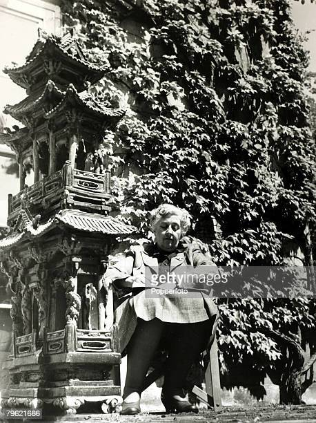 1950 English writer Agatha Christie pictured at her home Winterbrook House Wallingford Berkshire Agatha Christie the world's best known mystery...