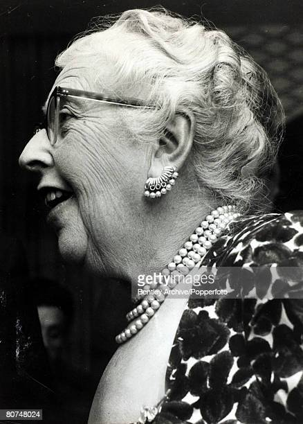 1960 English crime writer Agatha Christie at a Crime Club party Agatha Christie the world's best known mystery writer famous for her Hercule Poirot...