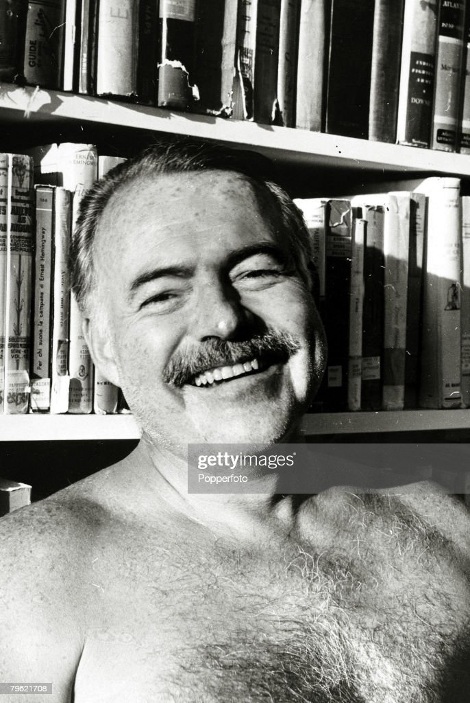 circa 1950, Author <a gi-track='captionPersonalityLinkClicked' href=/galleries/search?phrase=Ernest+Hemingway&family=editorial&specificpeople=93360 ng-click='$event.stopPropagation()'>Ernest Hemingway</a>, portrait, <a gi-track='captionPersonalityLinkClicked' href=/galleries/search?phrase=Ernest+Hemingway&family=editorial&specificpeople=93360 ng-click='$event.stopPropagation()'>Ernest Hemingway</a>, (1899-1961) US writer of novels and short stories and Nobel Prize winner, and also a keen sportsman, He was prone to a melancholic, self destructive personality