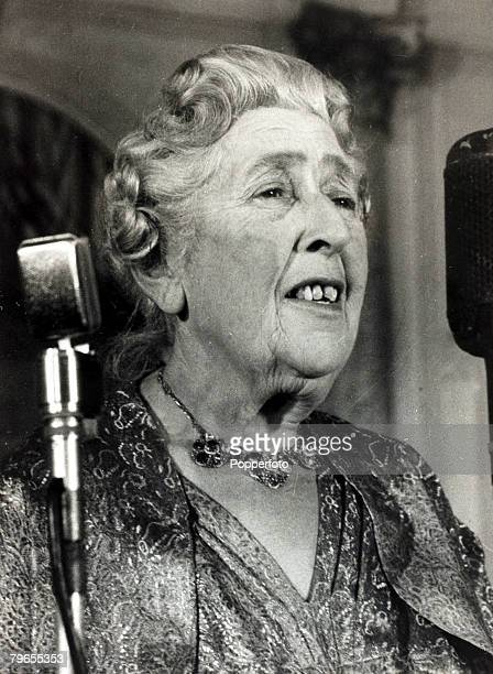circa 1950's English crime writer Agatha Christie speaking at a party at the Savoy Hotel London to celebrate the 10th anniversary of the record...