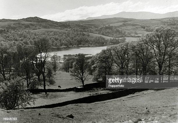 circa 1960 The view from Hill Top the home of English author Beatrix Potter looking beyond Esthwaite Water to the Coniston Fells Beatrix Potter an...