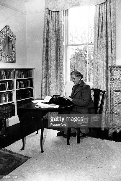 January 1946 English crime writer Agatha Christie pictured at the typewriter at her home Greenway House DevonAgatha Christie the world's best known...