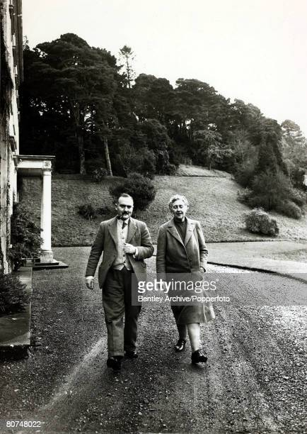 January 1946 English crime writer Agatha Christie pictured with her husband Prof Max Mallowan outside their home Greenway House DevonAgatha Christie...
