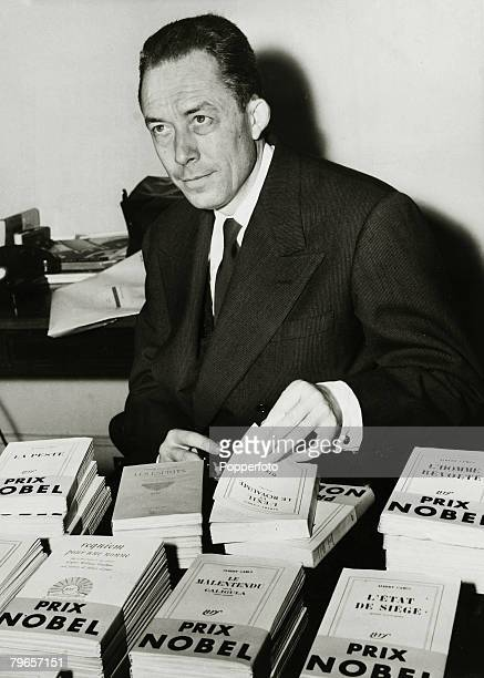 October 1957 A portrait of French author Albert Camus the 1957 Nobel Prize winner for Literature