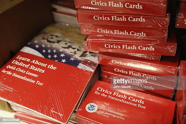 Literature sits for citizenship applicants await interviews at the US Citizenship and Immigration Services Dallas Field Office on August 22 2016 in...