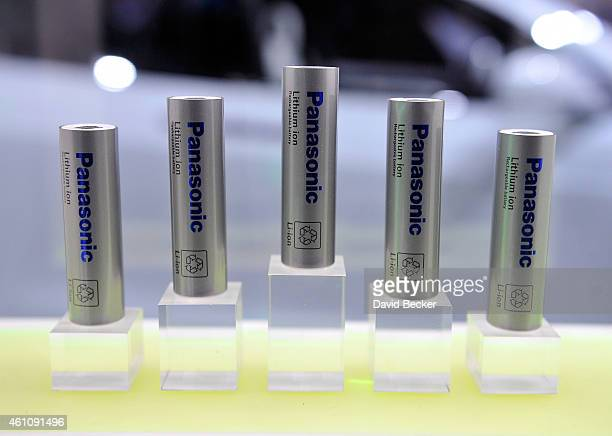 Lithiumion batteries are displayed at the Panasonic booth during the 2015 International CES at the Las Vegas Convention Center on January 6 2015 in...