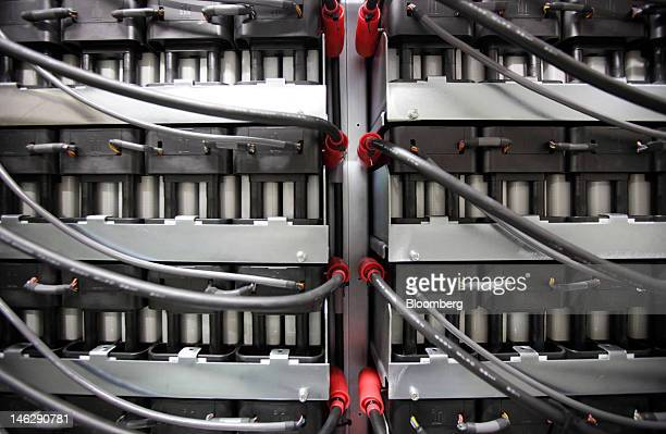 Lithiumion battery cells are seen on the backup system for the production line of the Eliiy Power Co plant in Kawasaki City Kanagawa Prefecture Japan...