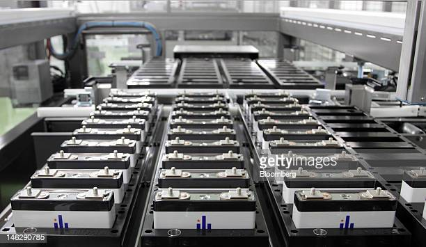 Lithiumion battery cells are seen on the production line of the Eliiy Power Co plant in Kawasaki City Kanagawa Prefecture Japan on Wednesday June 13...