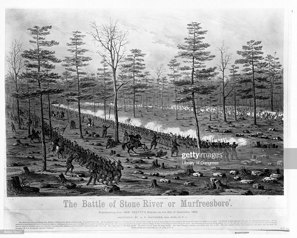 Lithograph After The Battle of Stone River by Alfred Edward Mathews