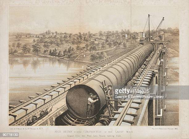 Lithograph by A Brown Co showing the water main on the High Bridge over the Harlem River in New York City during construction The rapid growth of New...