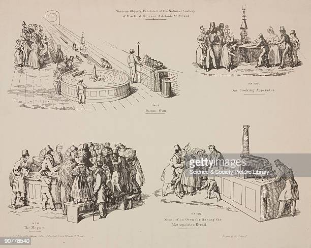 Lithograph by A Scharf comprising four exhibits from the National Gallery of Science They are titled �steam gun� �gas cooking apparatus� �the magnet�...