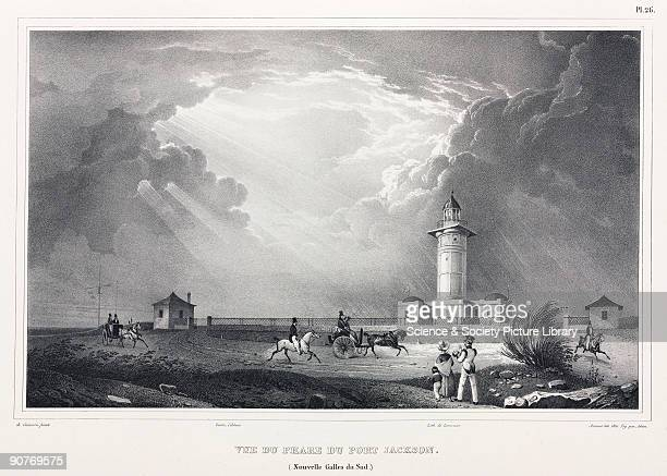 Lithograph by Arnout with figures by Adam after de Sainson showing European settlers riding horses and in carriages by the lighthouse Illustration...