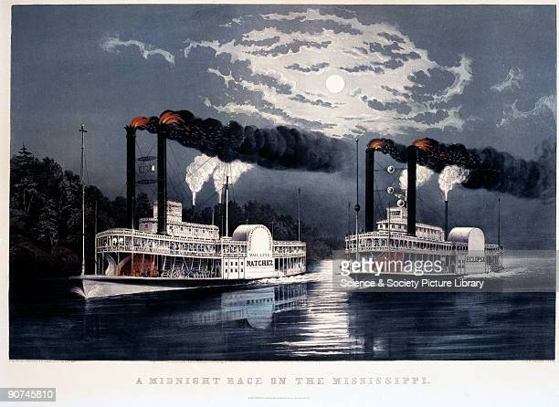 Lithograph by F F Palmer from a sketch by H D Manning showing the 'Natchez' and 'Eclipse' paddle steamers racing at midnight on the Mississippi Both...