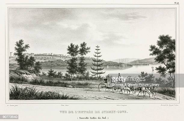 Lithograph by Guerard with figures by Adam after de Sainson showing a stage coach in the foreground with the European settlement in the distance...