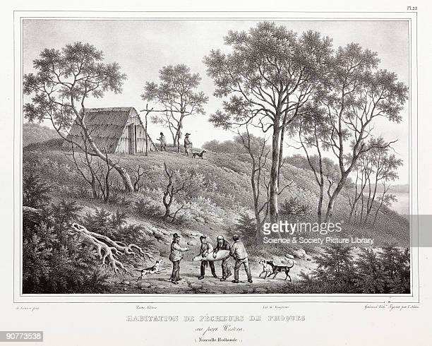 Lithograph by Guerard with figures by V Adam after de Sainson of white European settlers holding a seal they have caught Illustration from �Voyage de...
