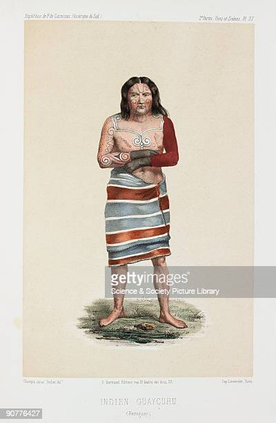 Lithograph by Pochet of a Guaycuru or Guaicuru man with traditional body paint From �Expedition dans les parties centrales de l'Amerique du Sud� by...
