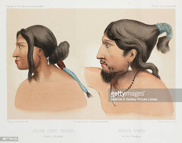 Lithograph by Pochet of a young Guachi chief from the Brazilian Mato Grosso and a Guato man from upper Paraguay From �Expedition dans les parties...