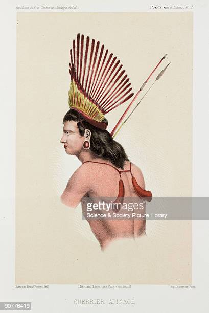 Lithograph by Pochet of an indigenous Brazilian of the Apinage tribe in the state of Maranhao He wears earplugs and an exotic headdress and carries a...