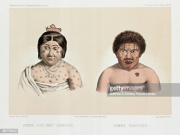 Lithograph by Pochet of two Guaycuru or Guaicuru women from Brazil Paraguay or Argentina The one on the left is the wife of a chief From �Expedition...