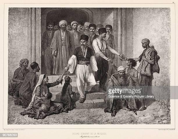 Lithograph by Raffet showing Muslim men giving alms to beggars in the Crimea From �Voyage dans la Russie meridionale et la Crimee par la Hongrie la...