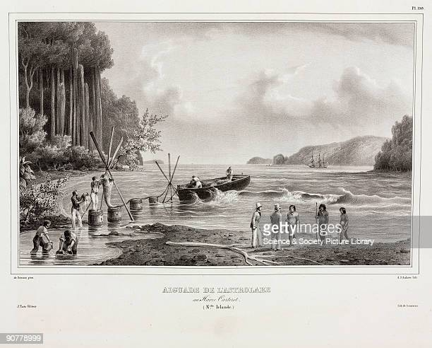 Lithograph by St Aulaire after de Sainson showing French sailors filling buckets with fresh water for their ship the �Astrolabe� in what is now Papua...