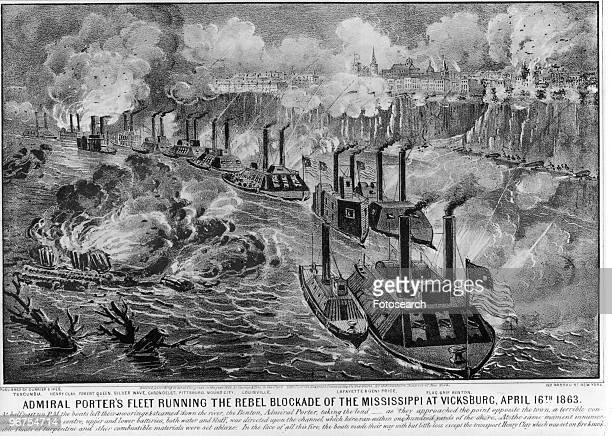 Lithograph captioned 'Admiral Porters Fleet Running the Rebel Blockade of the Mississippi at Vicksburg April 16th 1863 At half past ten PM the boats...