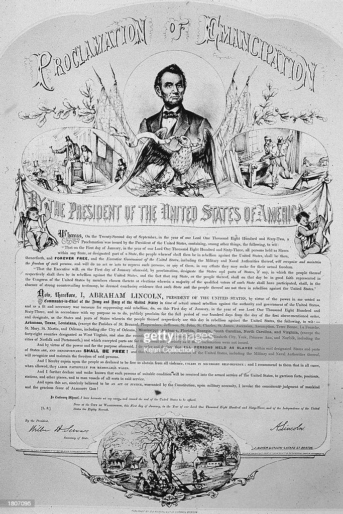 Lithograph commemorating president Abraham Lincoln's 1862 Emancipation Proclamation freeing slaves in the Confederate states, 1865.