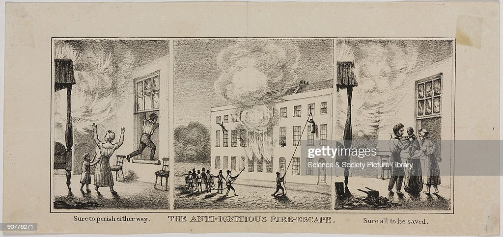 Lithograph comprising three related images In the first image �Sure to perish either way� the occupants of the building are about to be engulfed by...