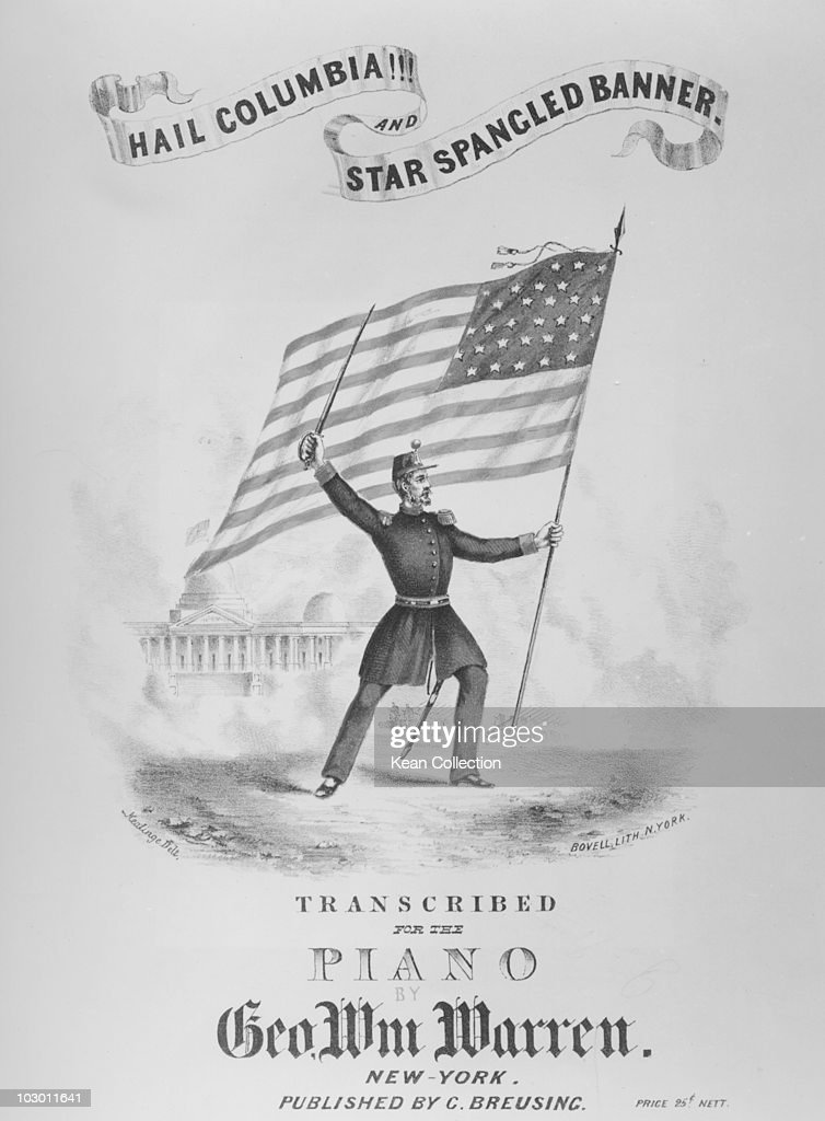 Lithograph cover of sheet music to 'Hail Columbia' and 'Star Spangled Banner' published during the American Civil War USA circa 1863 The illustration...