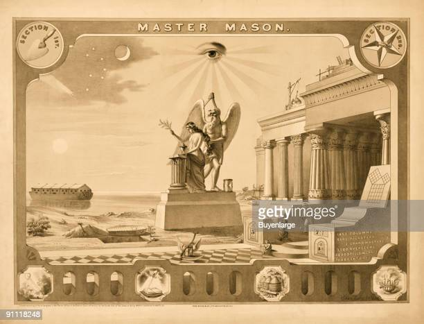 Lithograph depeicts symbology associated with the Freemasonry under the heading 'Master Mason' 1872