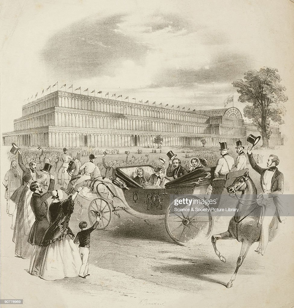 Lithograph depicting Queen Victoria and Albert Prince Consort with their children in the Royal Carriage approaching the Great Exhibition As they...